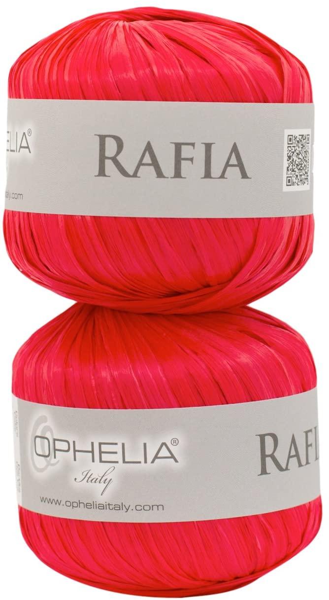 Ophelia Italy RAFIA007Pontova Raffia Set of 2x 25Gm Ball 100% Viscose 007Red