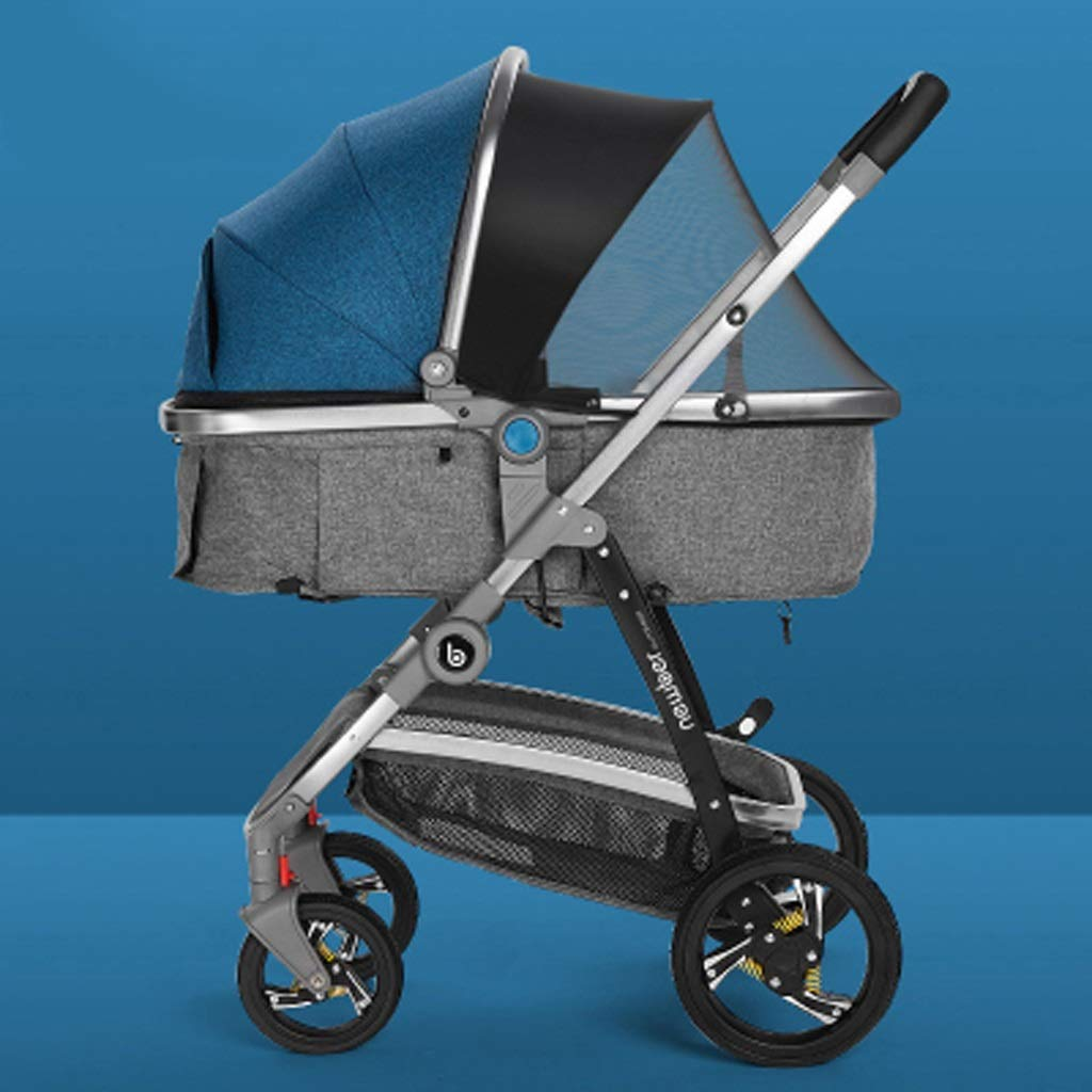 3 in 1 Pram, Carriage Stroller Travel System- All Terrain Pushchair Stroller Compact Convertible Strollers for Newborn Boy and Girl (Color : Blue, Size : B)