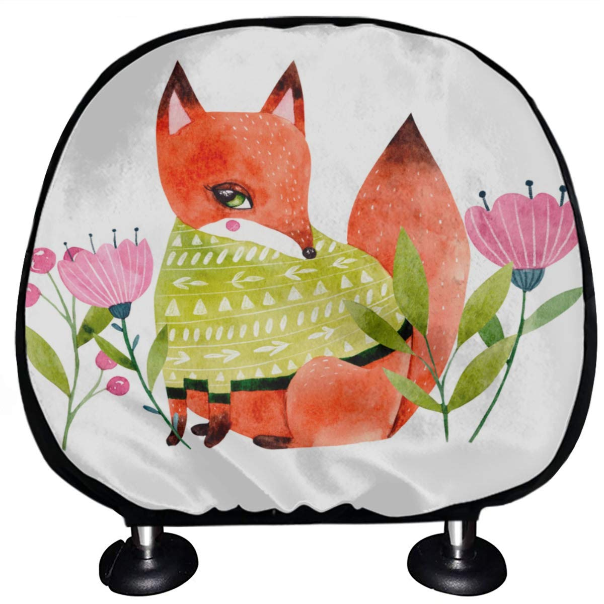Removable Headrest Seat Covers Cute Fox and Fragrant Flowers Car Seat Headrest Covers Set of 2 Universal Fit for Cars Vans Trucks Headrest Cushion Fashion Auto Interior Accessories