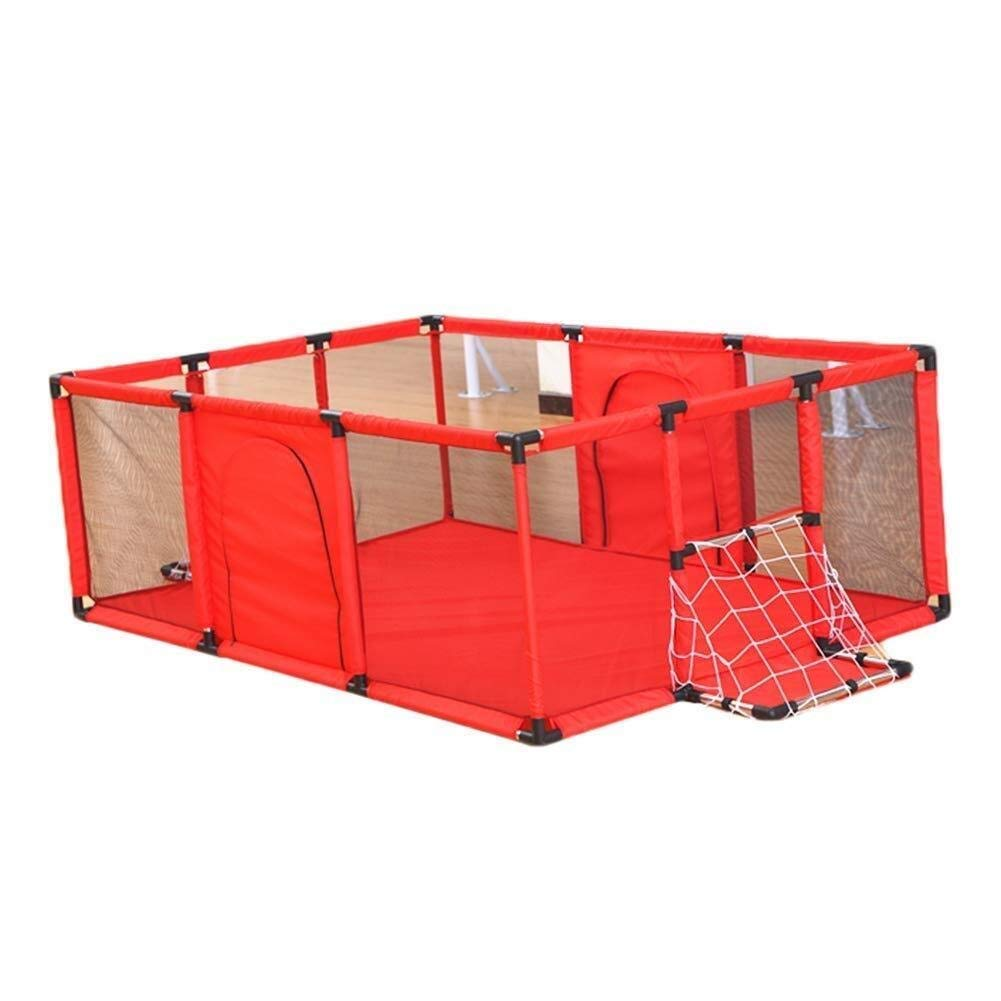 Playard Baby Playpen Play Yard Kids Activity Center with Football Shooting Door, Indoor Kids Safety Playground Fence (Color : Red, Size : 180x120cm)