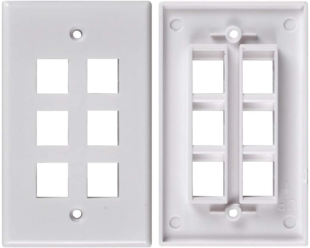 Conwork 6-Port Keystone Wall Plate Compatible with Standard Keystone Jack and Modular Inserts (2-Pack)