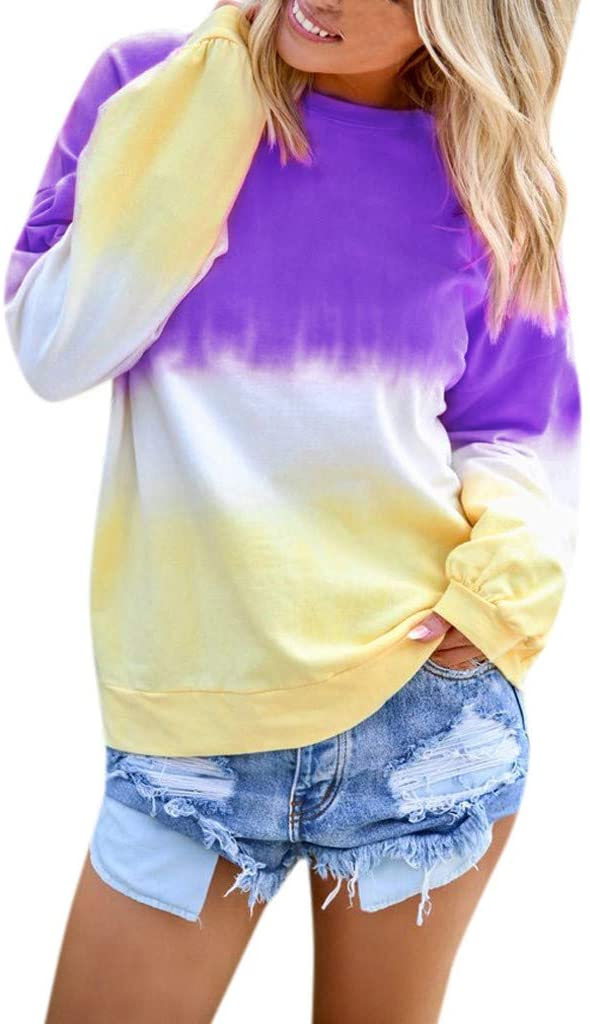 Hatop- Women's Tunic Tops Tie Dyed Blouse Shirt Gradient Contrast Color O-Neck Long Sleeve Tops Blouse Pullover Sweatshirt