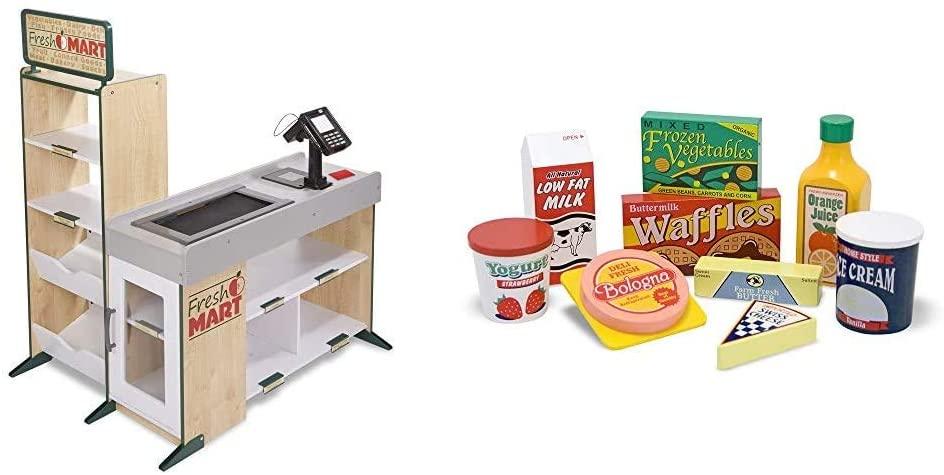 Melissa & Doug Grocery Store & Fridge Food Set - Wooden Play Food