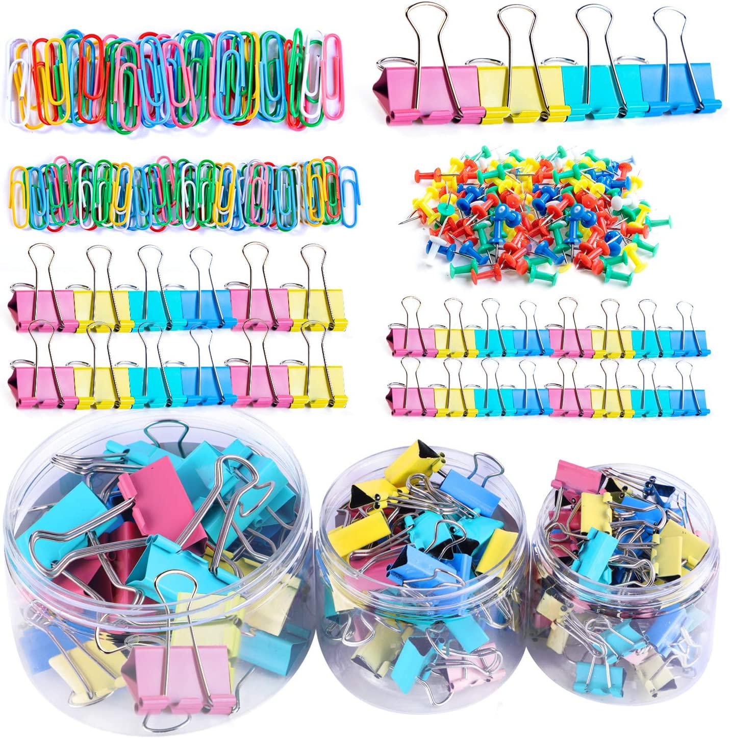 Assorted Office Clips Set with 124Pcs Binder Clips, 200Pcs Paper Clips 2 Sizes, 80Pcs Push Pins