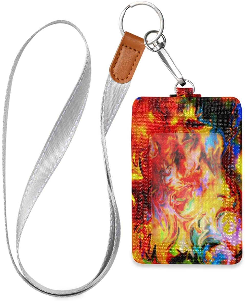 Id Badge Holder with Lanyard Unique Flames Tie Dye Leather Vertical Id Badge Card Holder with 1 Clear Id Window for Women Men Kids, 2 Credit Card Holder Slots and 1 Detachable Neck Lanyard