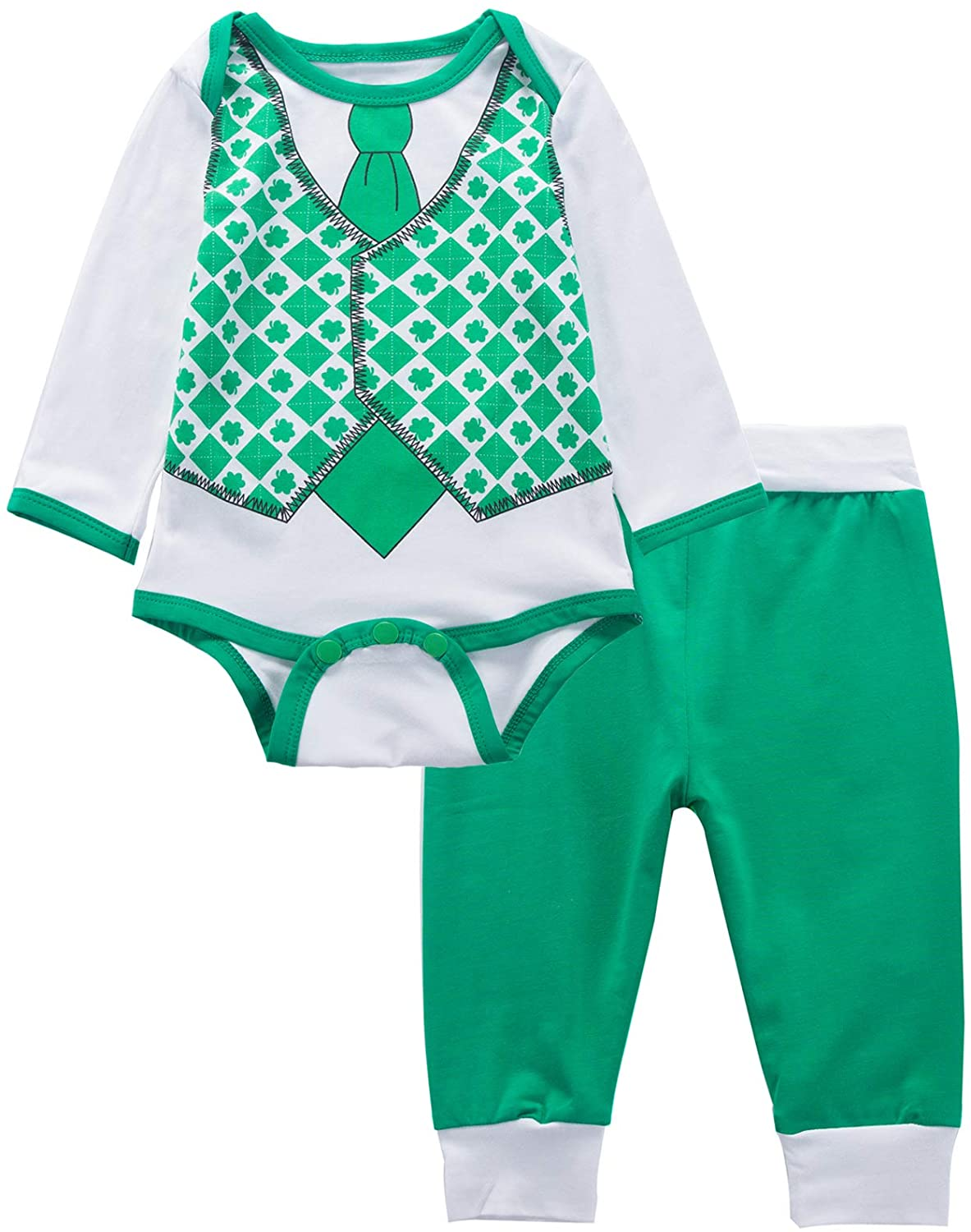 Baby Boys' Outfit Set My First St Patrick's Day Lucky Clover Long Sleeve Bodysuit