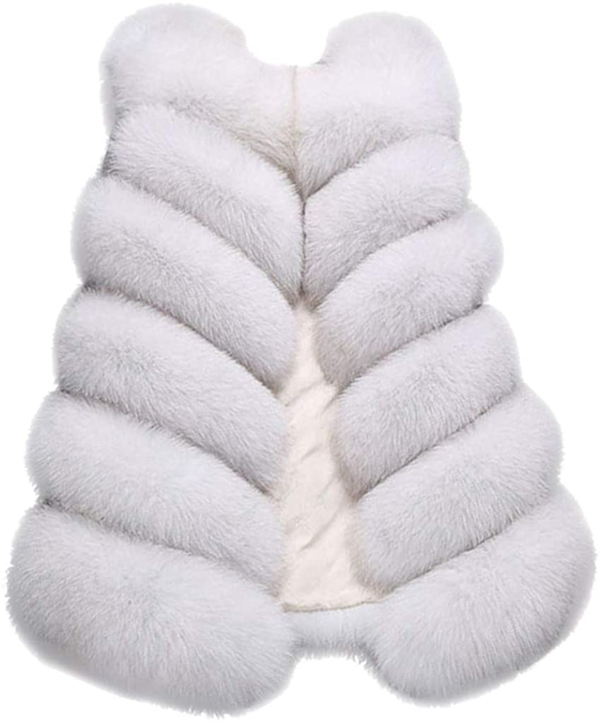 HNTDG Womens Faux Fur Waistcoat Short Vest Jacket Coat Sleeveless Outwear Solid Color Winter Loose Vest Coat