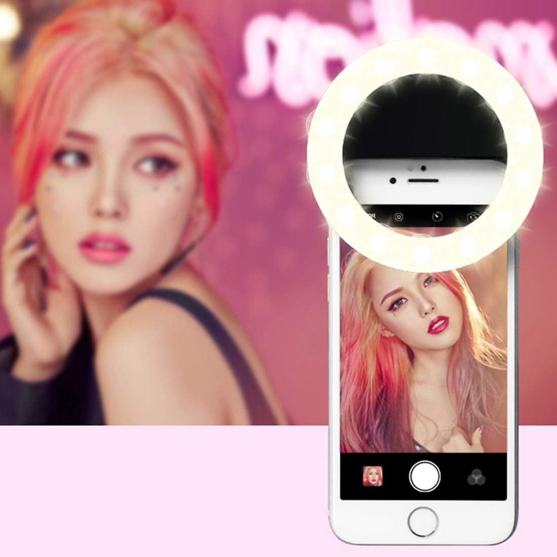 AEIOU RK14 Anchor Beauty Artifact Selfie Flashlight with 3 Brightness, 33 LED Lights (Color : Black)