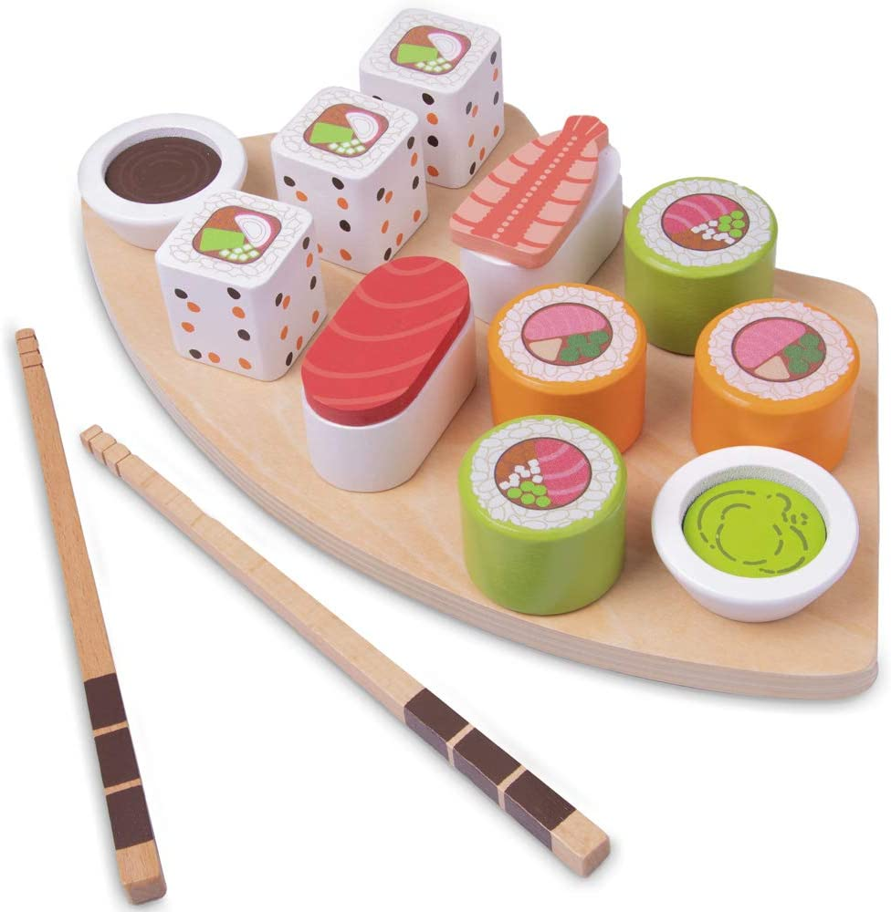 Deluxe Wooden Pretend Sushi Platter Play Food Set - Great for Toddlers!