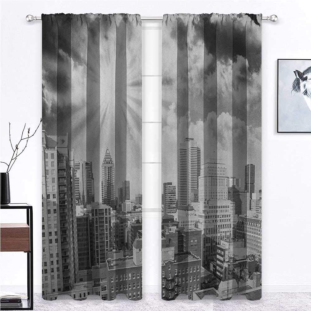 Black and White Curtains for Living Room Aerial View Montreal Canada Cityscape with Skyscrapers Architecture for Girls Room Kids Bedroom Baby Nursery Black White Grey - 60