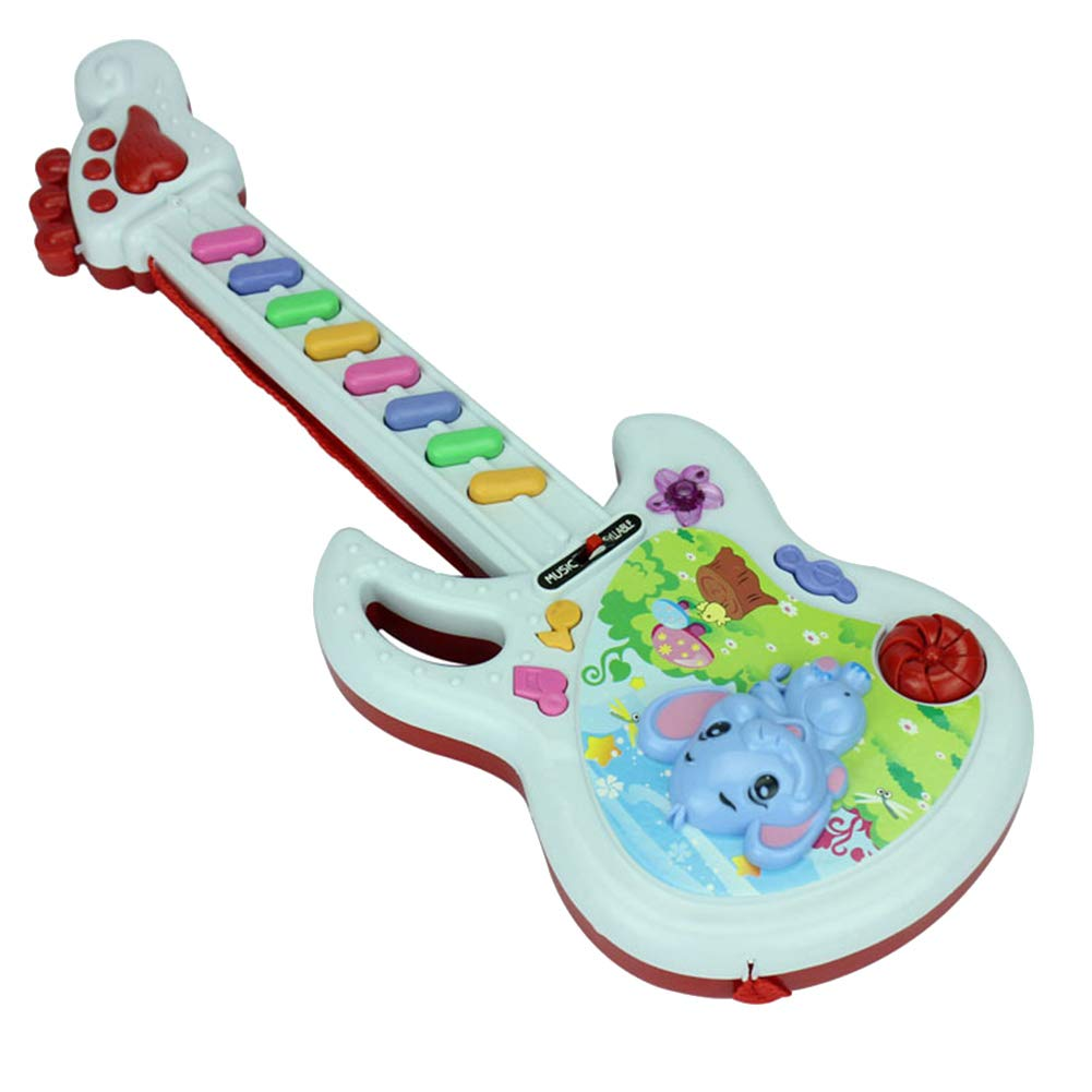 Maserfaliw Musical Toys,Cute Cartoon Elephant Plastic Electronic Guitar Baby Kids Rhyme Music Toy Gift Random Color