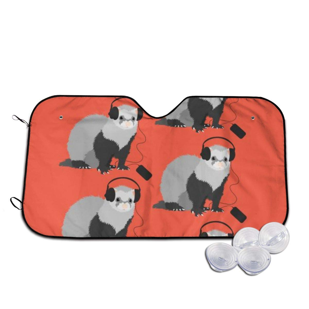 Funny Music Lover Ferret Windshields Sun Shade 3D Printed Long Lasting
