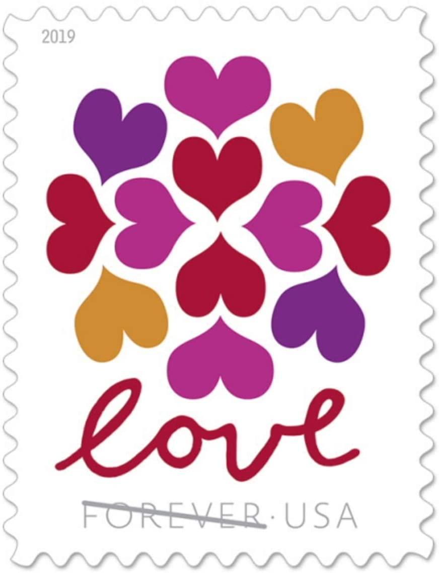 USPS Hearts Blossom Love Forever Stamps - Wedding, Celebration, Graduation (2 Sheets, 40 Stamps) 2019