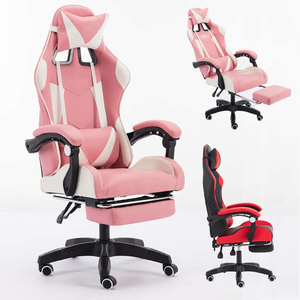 ZEIYUQI PU Leather Ergonomic Computer Chair/E-Sports Recliner Swivel with Headrest Lumbar Pillow Footrest - Adjustable High-Back and Footrest,Pink,Tolerate: 200kg