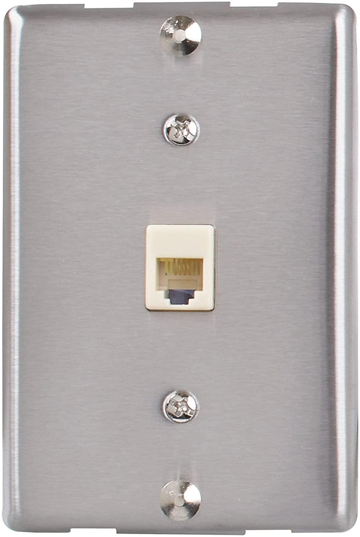 AmerTac - Zenith TW1001WPS TW1001WPS Universal Wall Phone Jack, Sivler Landline Telephone Accessory