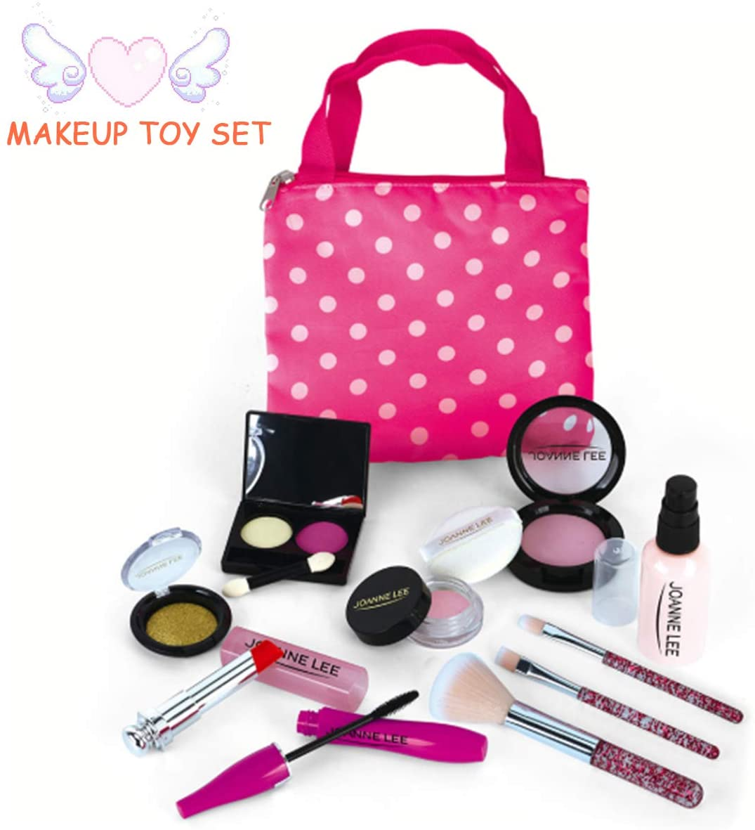 Pretend Makeup Play Sets- 10 Pcs of Girl's Make Up Toys- Washable Makeup Set- Realistic Beauty Makeup Kit- Comes with Stylish Bag- Birthday (Not Real Cosmetics)