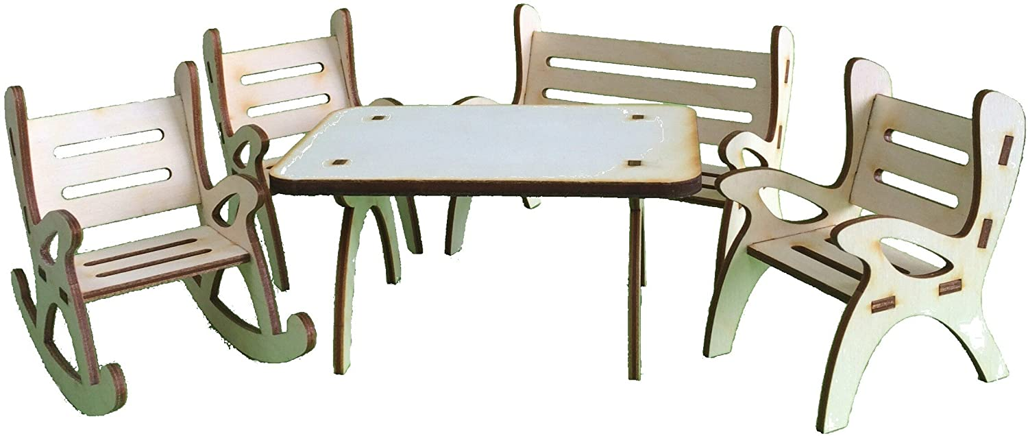 Petra's Craft News A Table GMH08FS2, consisting of 1x 1x 1x Rocking Chair Garden Bench and 2Chairs–5-Piece