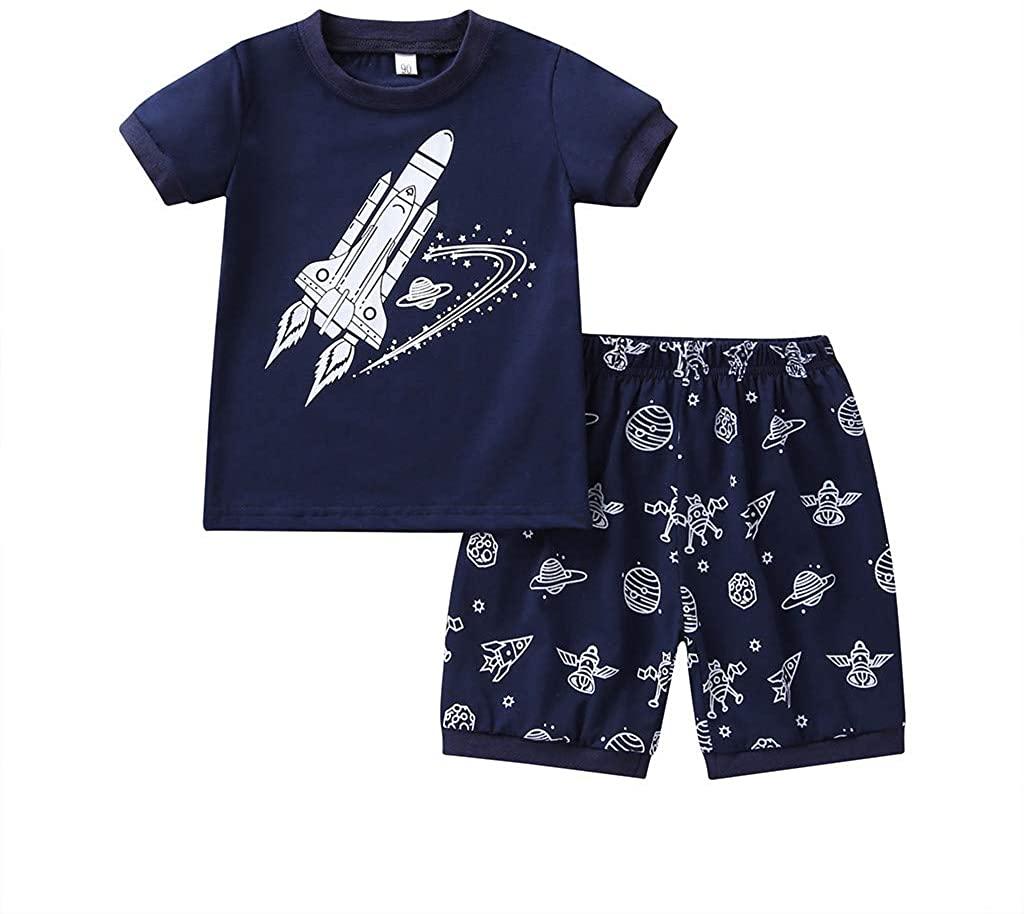 Baby Boys Cute 2Pcs Outfits Summer Clothes Set 1-8T Little Kids Toddler Cartoon Rocket Short Sleeve T-Shirt Tops+Shorts