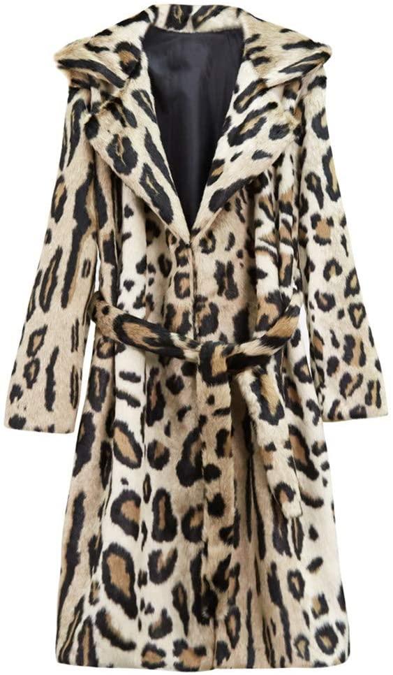 Faux Fur Coat Leopard Parka Long Coat Camel Winter Fashion Vintage Often Plush Lapel Belted Coat