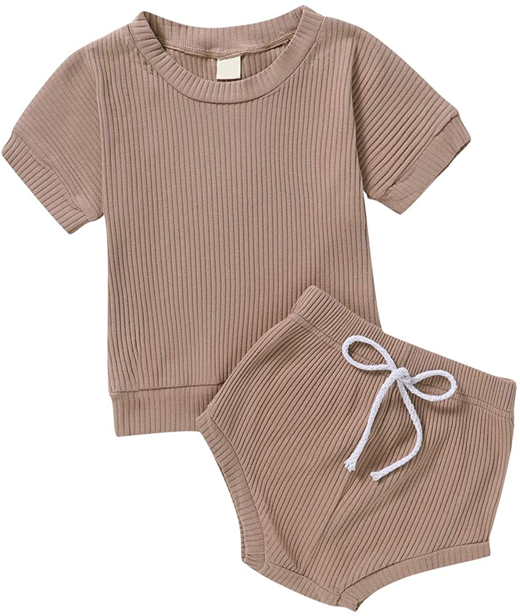 Toddler Newborn Baby Boy Girl Summer Short Set Clothes Ribbed Knit T-Shirt Top Drawstring Shorts 2pcs Outfit