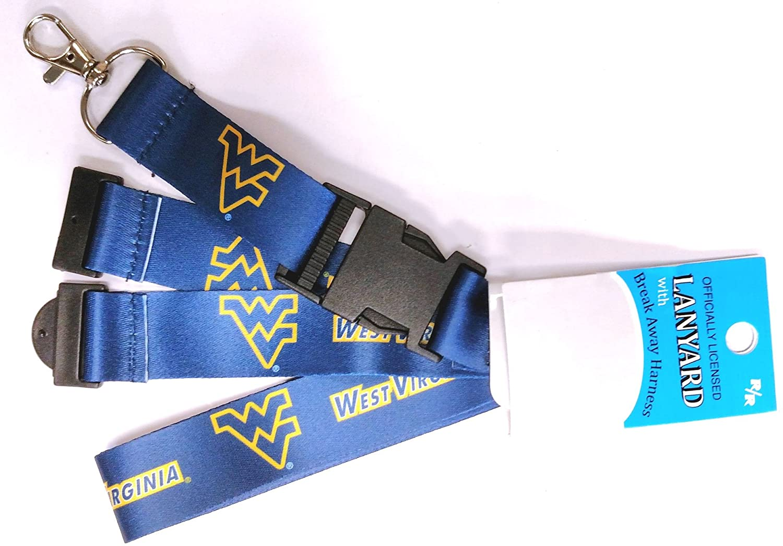 RR West Virginia Mountaineers Deluxe 2-Sided Lanyard Breakaway Clip w/J-Hook Keychain University of