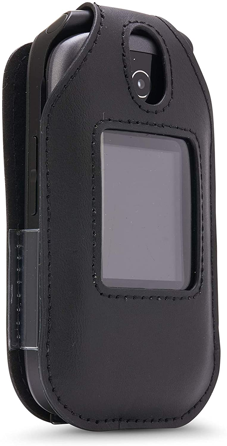 BELTRON Leather Fitted Case for Consumer Cellular Link Z2332 Flip Phone - Features: Rotating Belt Clip, Screen & Keypad Protection & Secure Fit