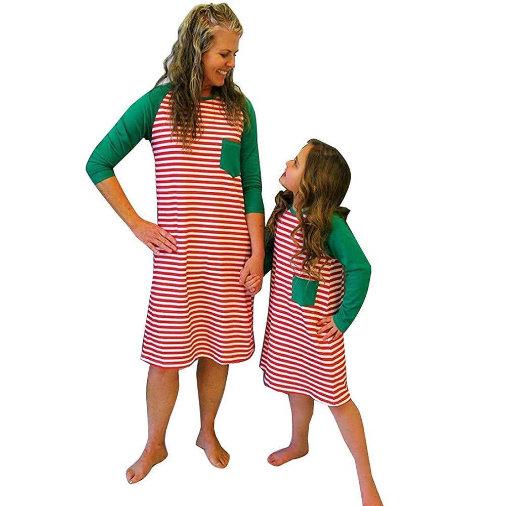 Christmas Clothes Mom and Daughter Family Christmas Dresses Woman Girls Mini Dress Elegant Stripe Skirt Round Neck Long Sleeve Christmas Swing Dress