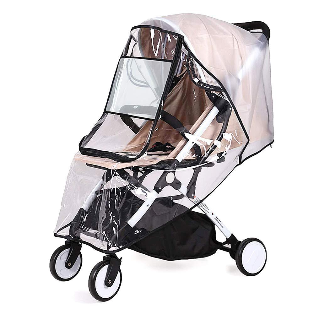 Lukovee Stroller Rain Cover Universal Size, Waterproof Dustproof Windproof Durable Protection Stroller Weather Shield with Eye Screen, Outdoor Use Protection Stroller Accessory for Baby (Transparent)