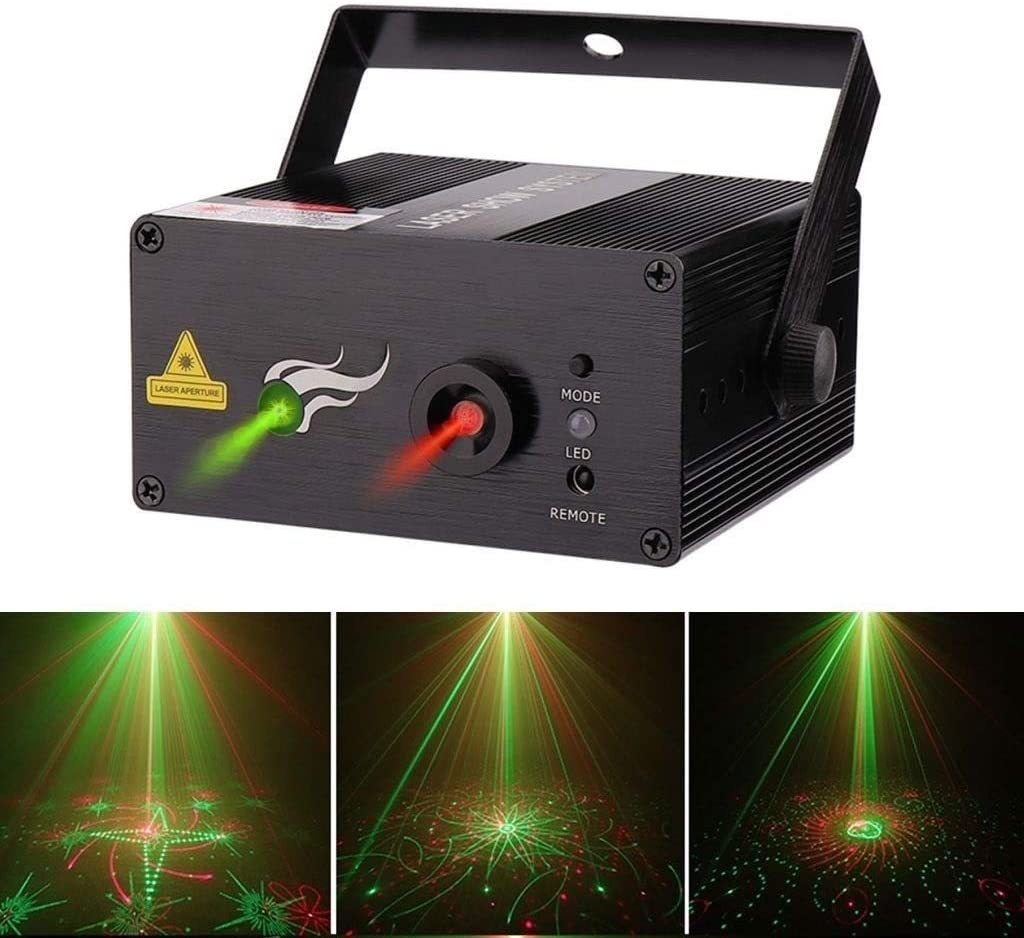 ZhanMa Stage Lights Durable 9/12/20 Pattern Dance Party Spotlight, Remote Red Green Party Beam Light, Sound Actived Automatic Control Disco KTV Bar Pub Club YATYXUN-7.18 (Color : 20 Pattern)