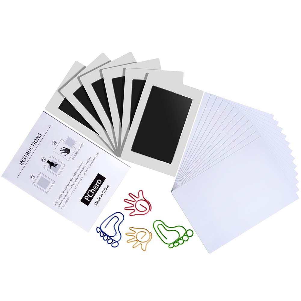 6 Packs Clean Touch Ink Pads for Baby Handprints and Footprints, PChero Inkless Print Kit for Family Keepsake Newborn Shower Gifts - Medium Size, Black