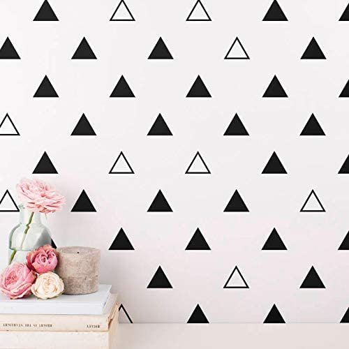 STIZZY 64 pcs/Set 7cm Triangles Vinyl Wall Sticker Baby Nursery Bedroom Art Mural Home Decor Kids Decal DIY Black