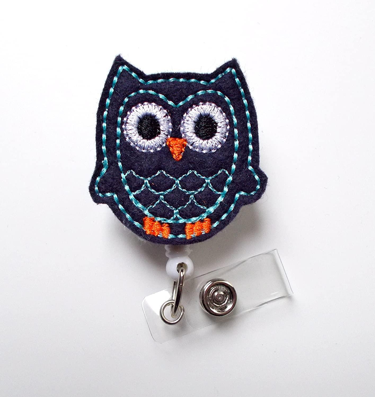 Navy Blue Owl - Retractable ID Badge Reel - Teacher Badge Holder - Cute Badge Reel - Nurse Badge Holder - Nursing Badge Clip - Felt Badge - Nurse Gift - Male Badge Reel