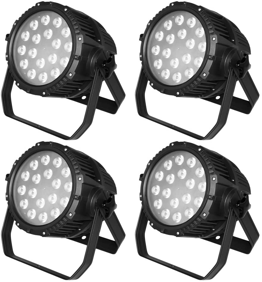 STSLITE Stage lights PAR RGBW Wash LED of 18pcs 8W Waterproof for Outdoor Pub Night Club Party DJ Theater Church of Stage Lighting (QUAD 188IP X 4PCS)