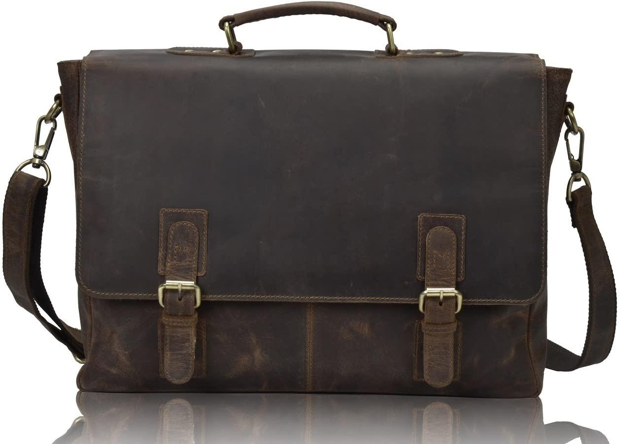 ADIBA Vintage Leather 15.6 inch Laptop Bag Messenger Bags Leather Buffalo for Men Dark Brown Retro Bag in Vintage Leather