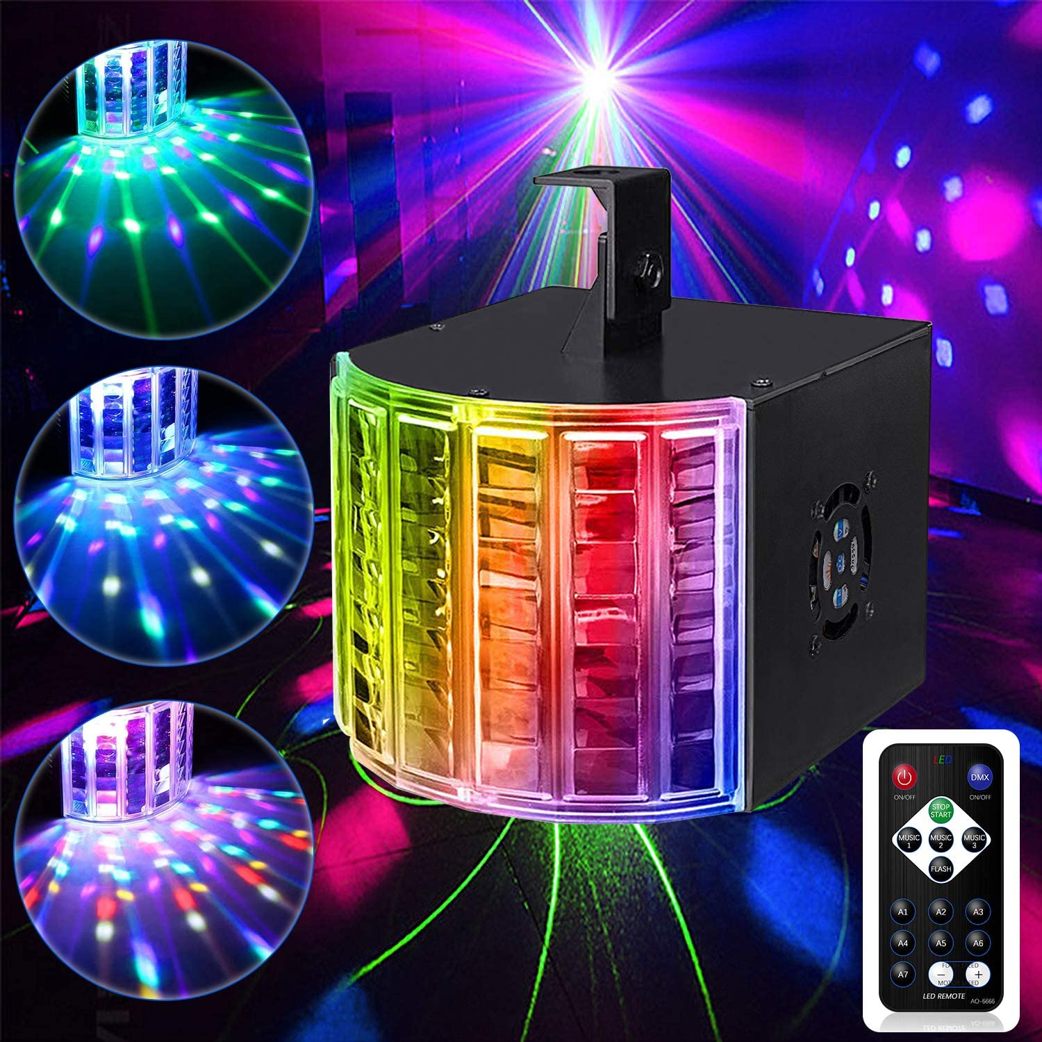 DJ Disco Lights,Ezire LED Party Lights DMX512 Sound Activated Strobe Light Stage Lights with Remote Control for Dance Parties Bar Karaoke Xmas Wedding Show Club