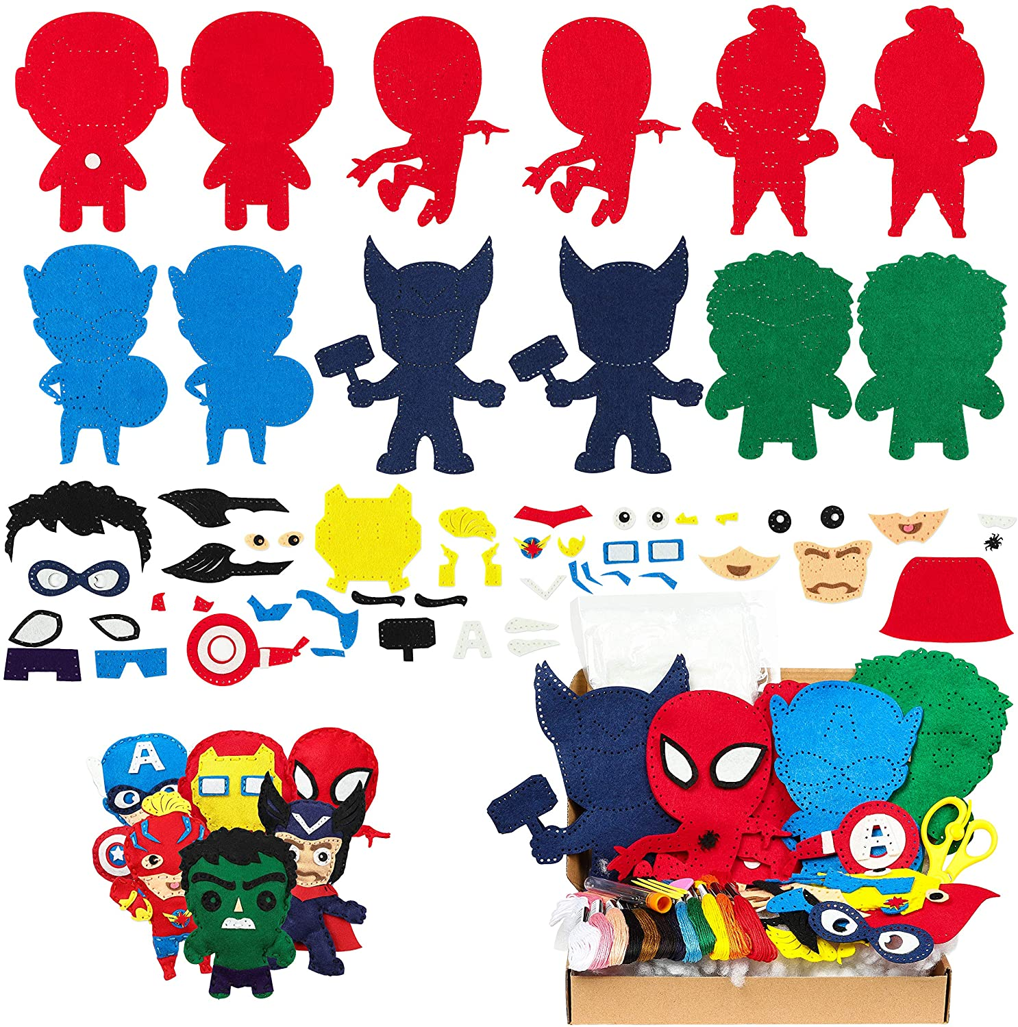 MALLMALL6 6Pcs Superhero Sewing Kit DIY Art Craft Felt Kits for Kids Learn to Sew Crafts Supplies Handmade Stuffed Cartoon Toys Hero League Themed Stitch Craft Art Project for Beginners Boys Girls