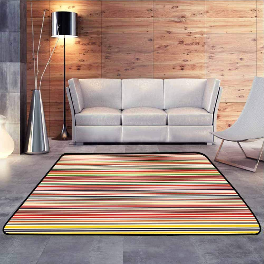 Soft Carpet Horizontal Colorful Striped Lines Background Rainbow Bars Artistic Display Baby Floor Playmats Crawling Mat for Kids Living Room Nursery Home Decor, 5 x 8 Feet
