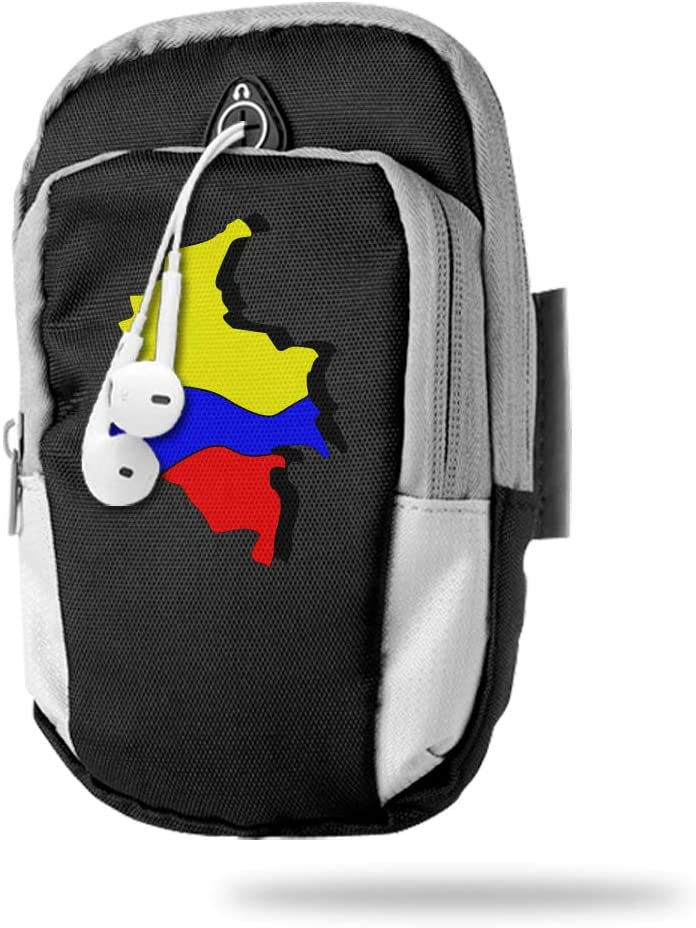 Sports Arm Bag Free Gym Phone Armbands Cell Phone Arm Holder Colombia Map Pouch Case with Earphone Hole for Running for Men Mini Shoulder Bag Travel Women Kids Handbag
