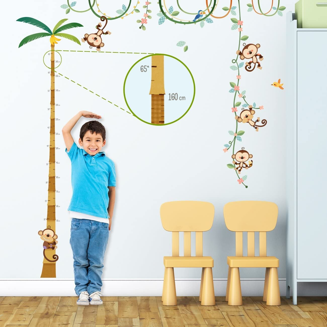 DECOWALL DA-1607 Monkey Height Chart Kids Wall Decals Wall Stickers Peel and Stick Removable Wall Stickers for Kids Nursery Bedroom Living Room