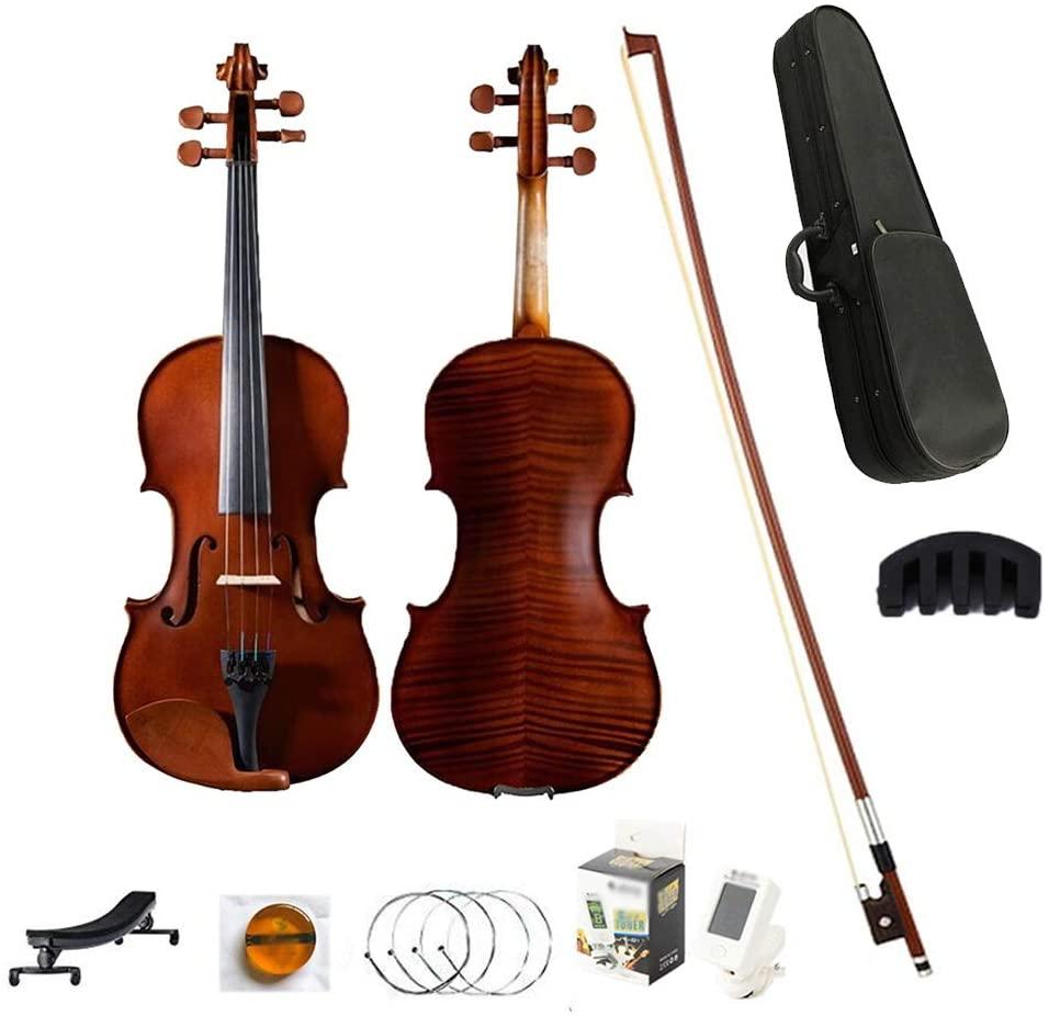 Acoustic Violin Acoustic Violin Set Matte Vintage Tiger Pattern Student Beginner 4/4 Full Size Handmade with Hard Case Rosin Stringed Instrument Shijinhao (Color : Brown, Size : 3/4)