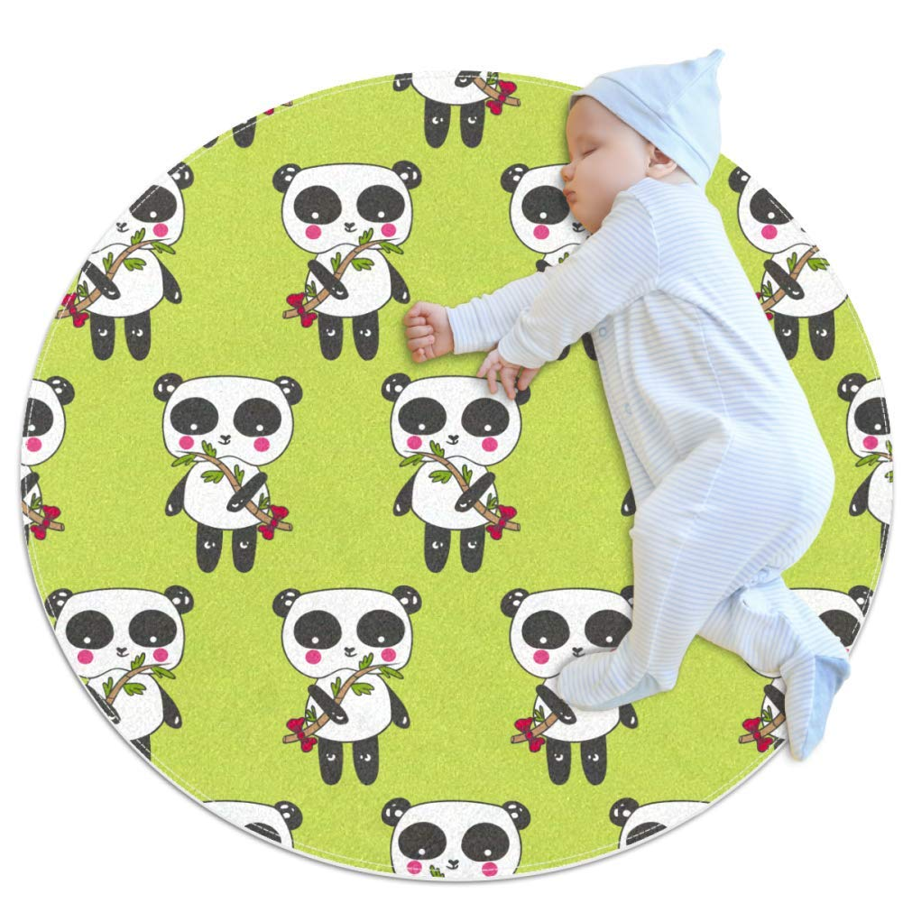 Baby Rug Panda Bamboo Cute Round Tent Rug Super Soft Nursery Rug Anti-Slip for Infants Toddlers 27.6x27.6in