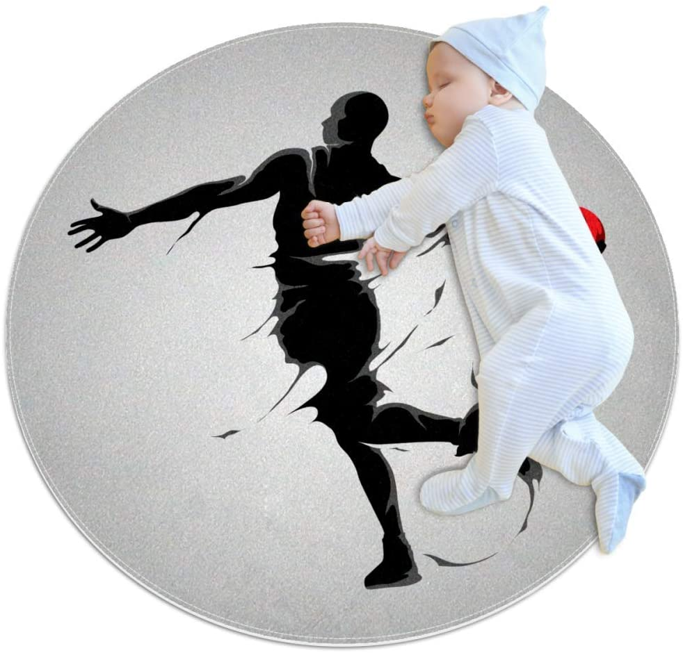 Basketball Art Sports Baby Area Rug Home Decorative Carpet Soft and Washable Pad Non-Slip for Kid's Toddler Infants Room 3feet 3.4inch