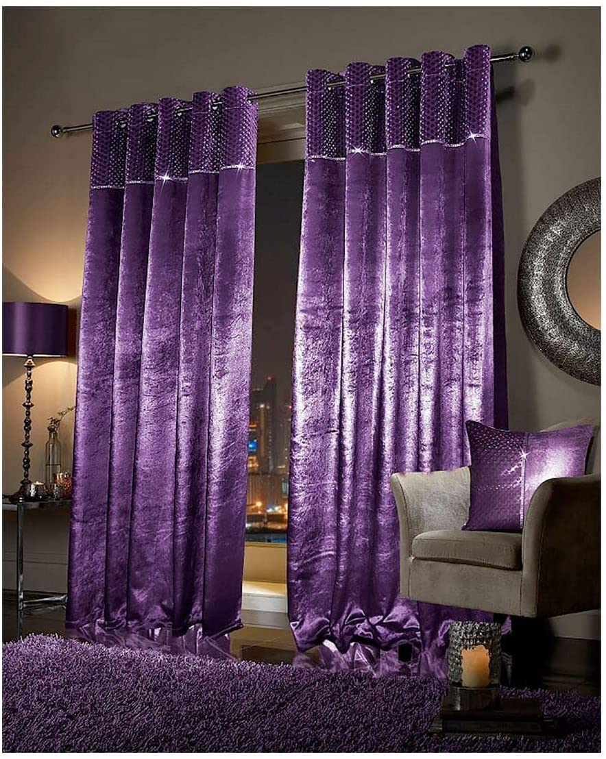 Rimi Hanger Eye Catching Faux Velvet Paloma Curtains Fully Lined with Eyelet & Cushion Cover Plum (90X90 Inches)