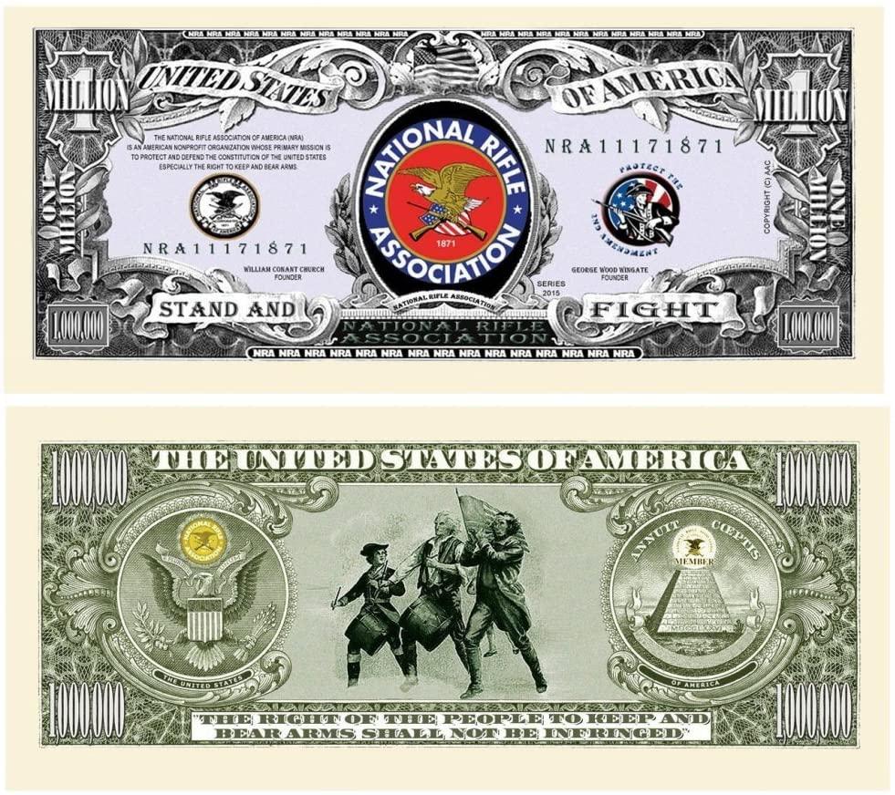"50 NRA National Rifle Assoc Million Dollar Bills with Bonus ""Thanks a Million"" Gift Card Set"