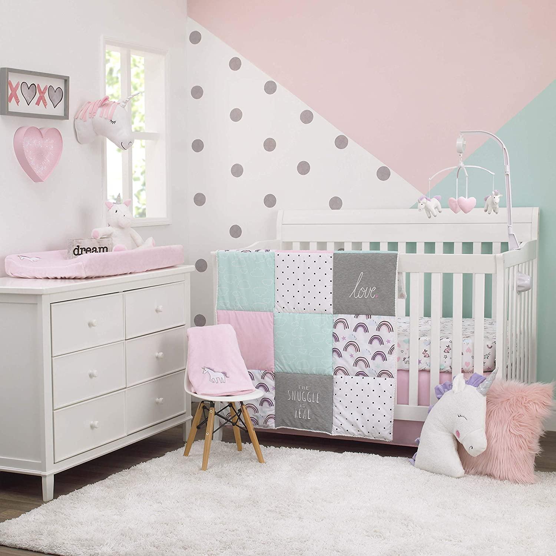 Carter's Unicorn Snuggles Pink, Aqua, Grey 4Piece Nursery Crib Bedding Set - Comforter, 100% Cotton Crib Sheet, Dust Ruffle, Changing Pad Cover, Pink, Aqua, Grey,