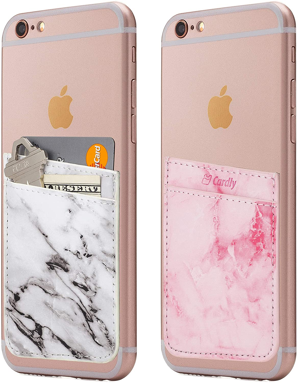 (Two) Leather Cell Phone Stick On Wallet Card Holder Phone Pocket for iPhone, Android and All Smartphones. (White & Pink)
