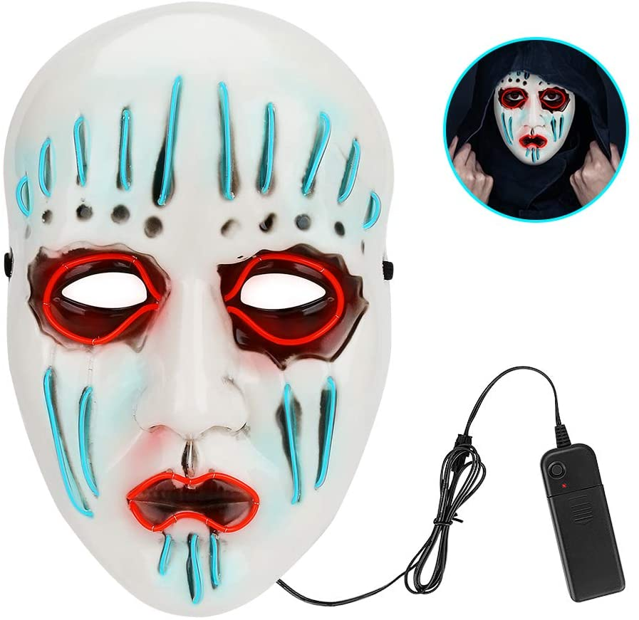 Globalstore ScaryFaceMask, 3 Gears Adjustable HalloweenDecorations Rave LightUpMask Flashing LED Face Mask Costume for Halloween Cosplay Fesitival Parties(Batteries Not Included)