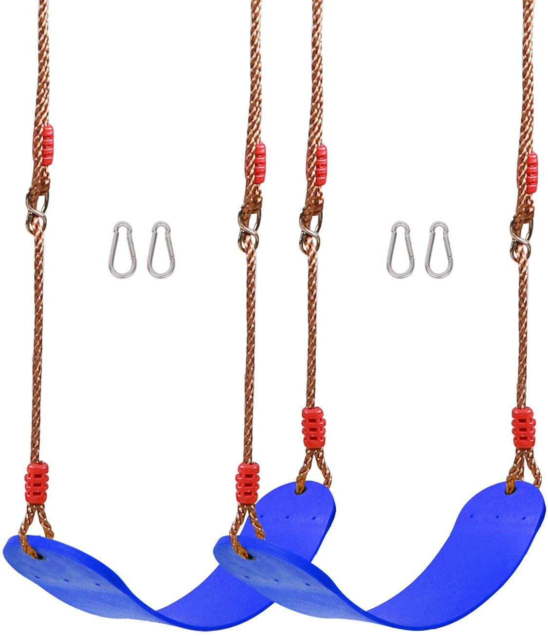 REDCAMP 2-Pack Swing Set Accessories for Kids and Adults, Heavy Duty Outdoor Swing Seat Replacement with Adjustable Long Ropes and Snap Hooks, Blue