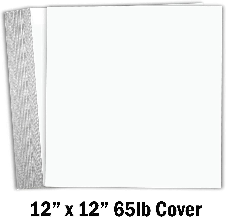 Hamilco White Cardstock Scrapbook Paper 12x12 65lb Card Stock – 25 Pack