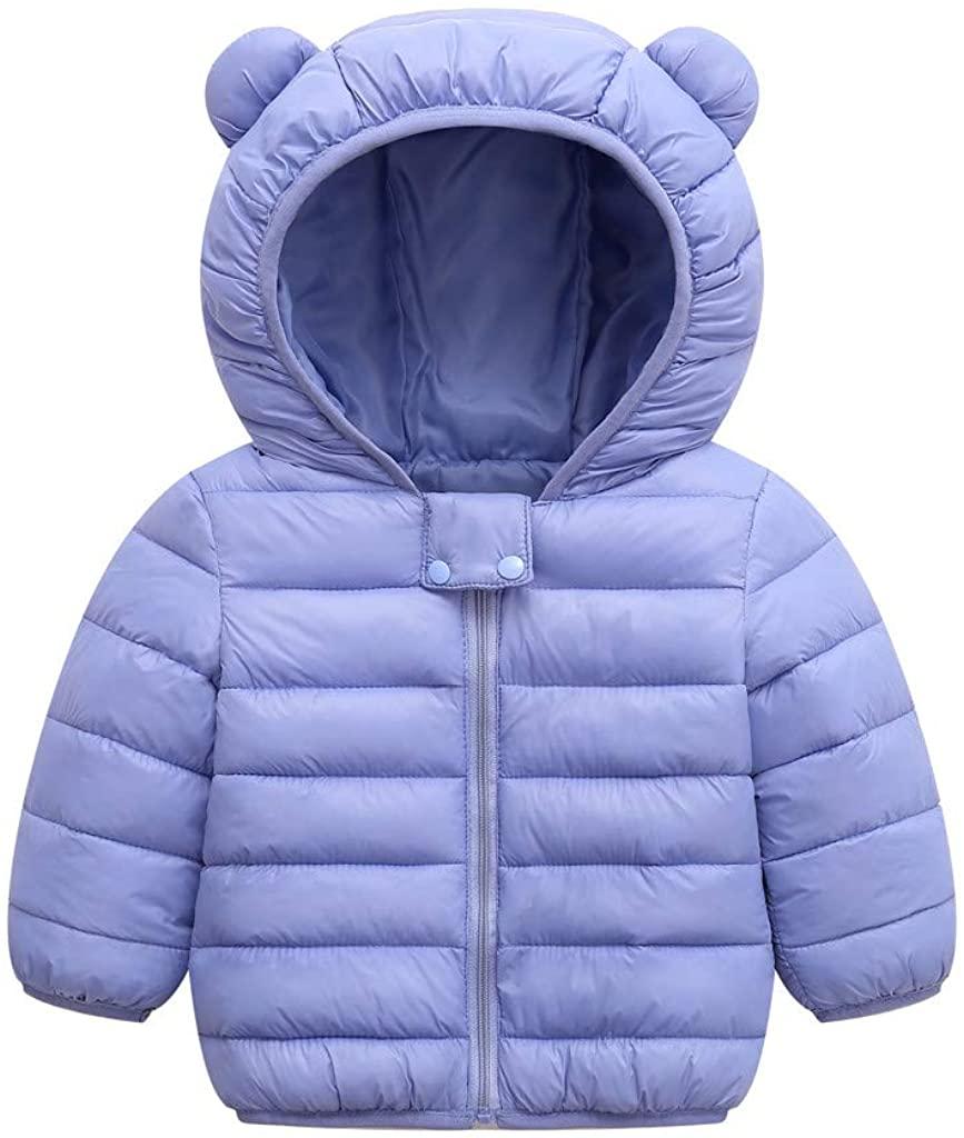 Tronet Winter Coats for Kids Boys Girl Winter Coats Jacket Zip Thick Ears Snow Hoodie Outwear Coat for 0-4 Y